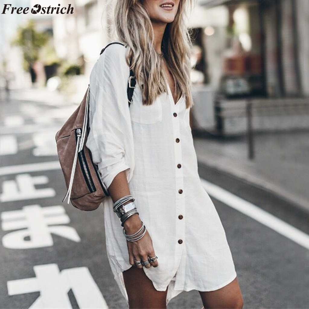 FREE OSTRICH Women's White Long Sleeve V-neck Blouse Female Button Casual Loose Long Ladies Shirt plus size tops