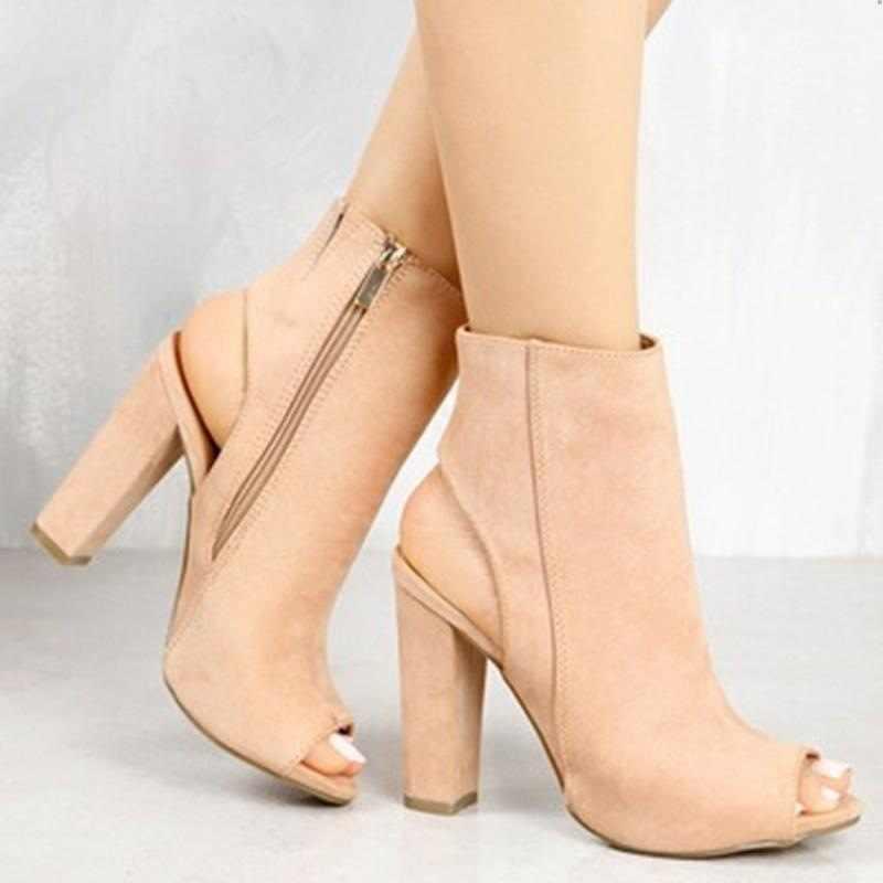 Kadın sandalet Siyah yarım çizmeler Faux Süet Deri Rahat Açık Peep Toe Yüksek Topuklu Fermuar Moda kare kauçuk siyah ayakkabı Fo
