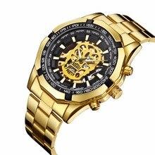 Luxury Men Golden Skull Skeleton Mechanical Automatic Self Wind Watch Fashion Stainless Steel Wristwatch Relogio Masculino