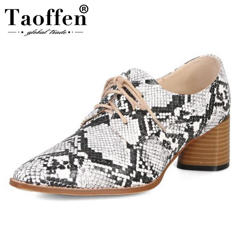 TAOFFEN Women Lace Up Pumps Snakeskin Pattern Thick High Heels Shoes Office Lady Formal Shoes Fashion Women Pumps Size 33-44
