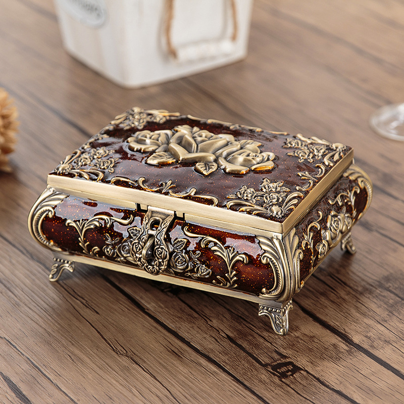 Size L Vintage Jewellery Case Fashion Jewelry Box Zinc Alloy Metal Trinket Carved Flower Rose Square Shaped In Packaging Display From