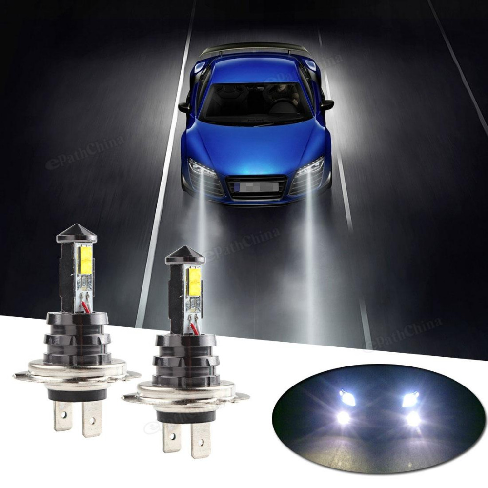 Hot 2PCS 20W H7 LED Bulb 4SMD XTE Car Fog Light DC 12V/24V 360 Degree 720lm White Headlight 6000K Lamps 2x 20w h4 led bulb cree xte car fog light dc12v 24v 360degree white6000k720lm white headlight 6000k fog lamps up to 50 000 hours