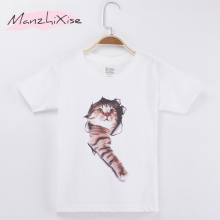 цена на Basic White T Shirt Children T-shirt Cute Cat Print Cotton Boys Short Sleeve Child Clothing Kids T Shirts For Girl Clothes Tees