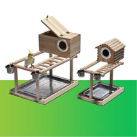 Bird shelf incubator bird cage parrot solid wood stand with bird nest ladder frame Peony small sun station pole ZP6301457