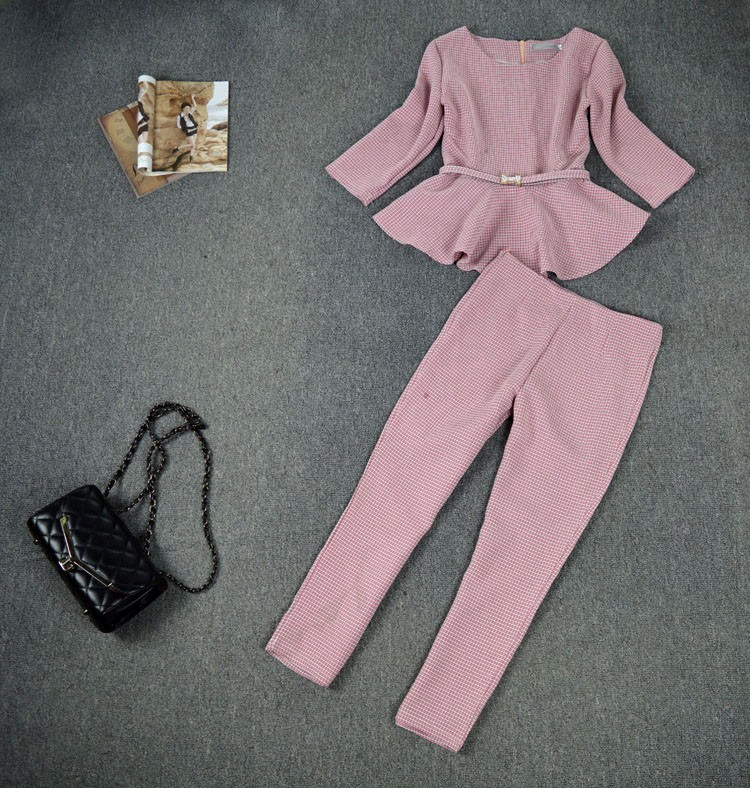 New 19 Spring Autumn Fashion Women's Business Pants Suits Houndstooth Checker Pattern Ruffles Suits For Women 2 Pieces Set 20