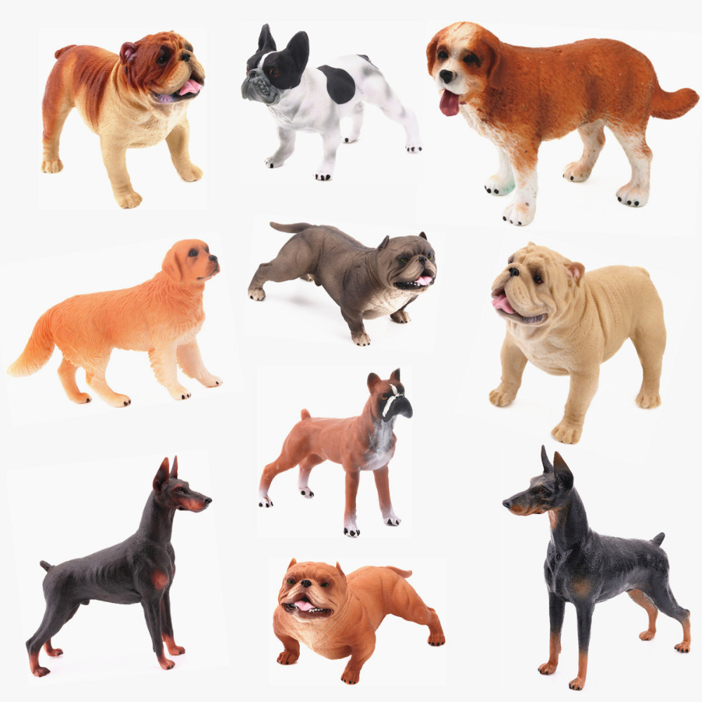 REikirc 10PCS/Set Plastic Dog Exquisite And Cute Pet Bulldog Doberman Animal Model Figurine Toy For Chidren Gift