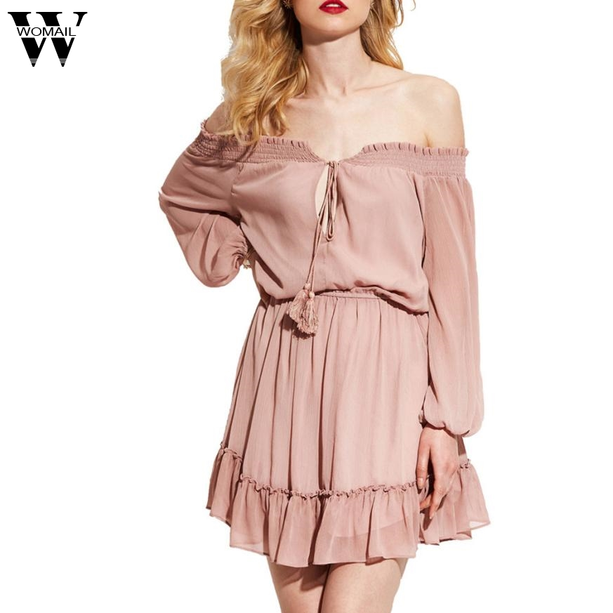 Womail Ruffle Sexy Dress Women Off Shoulder Chiffon Vintage Dress Long Sleeve Women Dresses Summer 2017 Beachwear Dec12