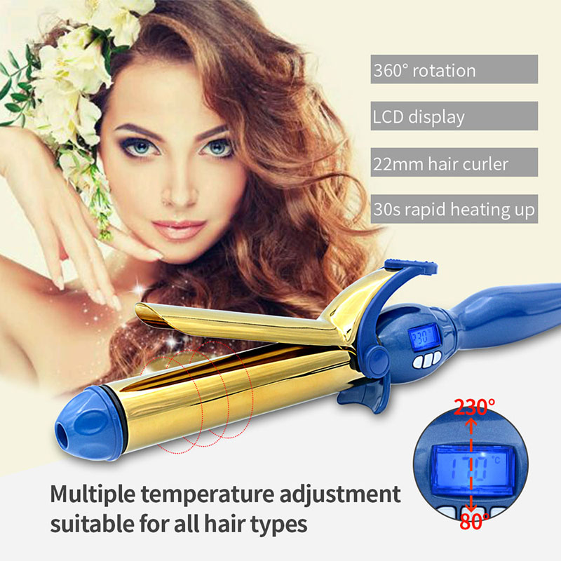 Professional 32mm Magic Digital 360 Degree Rotating Curling Iron Wand Hair Curler roller Gold-plated 360 Degree Rotating women hot electric brush hair straightener 360 degree rotation curling wand black color magic hair curler with plug
