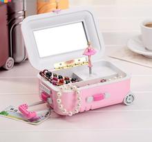 Luggage Trolley Case Clockwork Type Musicbox Rotary Ballerina Girl Music Box Jewelry Storage Box Gift Send Girls Lady