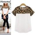 Plus size t-shirt mulheres blusas camisetas femininas 2017 verão tops manga curta chiffon estampa de leopardo t shirt mulheres C184