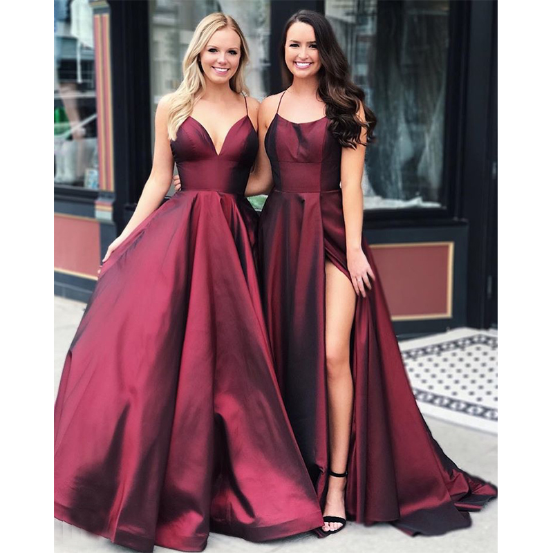 Burgundy Long   Prom     Dresses   Spaghetti Strain A-line Robe De Bal Sexy Satin Women Formal Party   Dress   Full Length   Prom   Gowns Simple