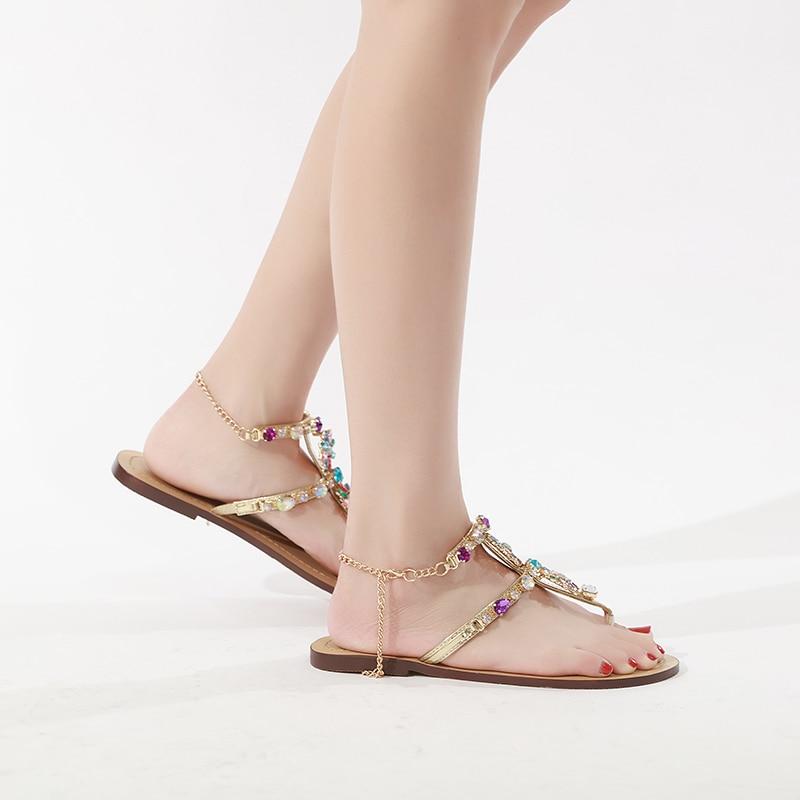 HTB1nY3XbozrK1RjSspmq6AOdFXaa 6 Color Woman Sandals Women Shoes Rhinestones Chains Thong Gladiator Flat Sandals Crystal Chaussure Plus Size 46 tenis feminino