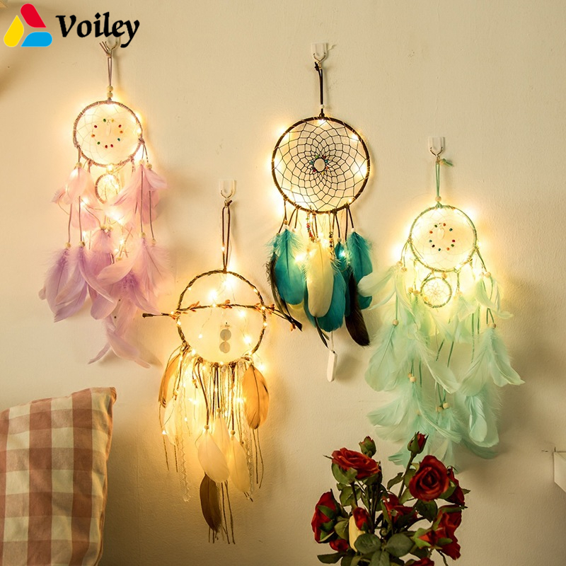 Baby Shower Girl Creative 2M 20pcs LEDs Stars String Lights Dream Catcher Weeding Christmas Navidad Home Ornaments Wind Chimes,5 ...