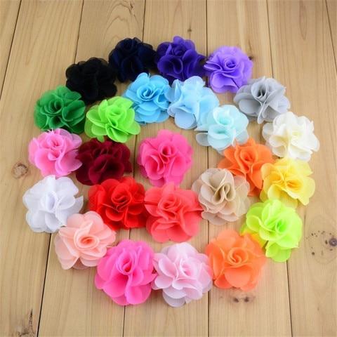 120pcs/lot 2.56Inch Layered Chiffon Fabric Flower Hair Flowers DIY Bridal Weddings Girls Accessories 25 Color U Choose MH88 Pakistan