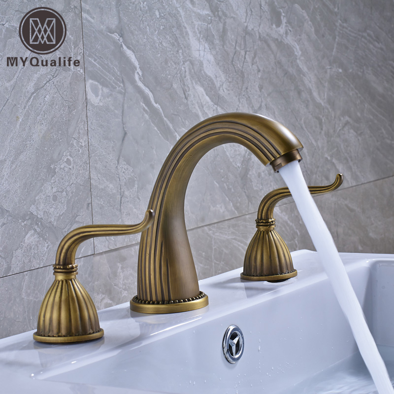 Antique Brass Widespread Dual Handle Bathroom Washing Basin Mixer Taps Deck Mounted 3 Holes Lavatory Sink Faucet oil rubbed blacken widespread 8 inch deck mounted basin mixer taps dual cross knob bathroom lavatory sink faucet