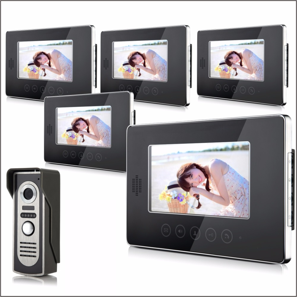 7 Inch Wired Video Door Phone IR Night Vision With Five Monitor
