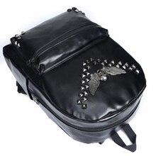 Britischen Design Unisex Tasche Mode Lässig Adrette Schädel Koreanische Rucksäcke Nieten Freizeit Cool Fliegenden Schädel Tasche H091