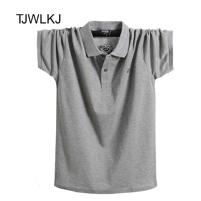 TJWLKJ 2019 Summer 6XL Mens Clothing   Polo   Shirt Loose Cotton Formal Short Sleeve PoloShirt Big Size Camisa   Polo
