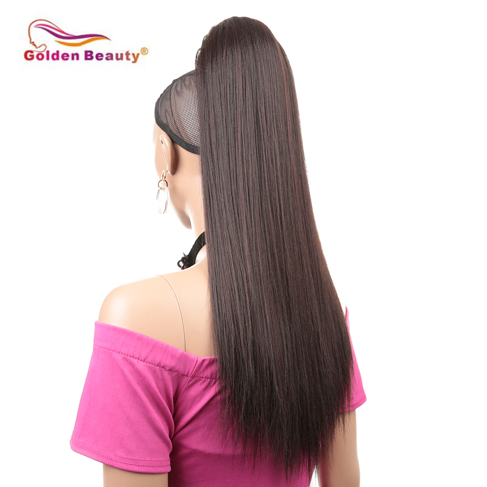 24'' Yaki straight ponytail hair extensions in Synthetic Ponytails claw clip ponytail tail hair(China)