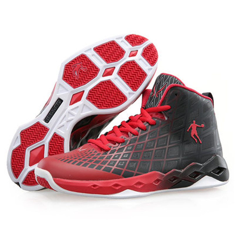 32ecf5a211c China Jordan basketball shoes men sneakers 2015 red and black basketball  shoes authentic mesh slip resistant damping XM3550101-in Basketball Shoes  from ...