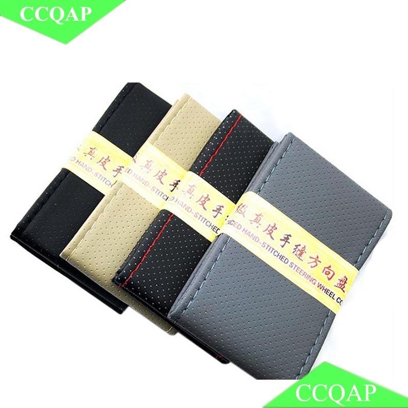 Nyt PU Læder håndstiket rathjul med nål og gevind Anti-slip 38cm Diameter