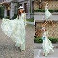 Стильный 2014 лето богемия симпатичные длиной до пола платье леди с длинным рукавом цветочный принт пляж элегантное длинное платье