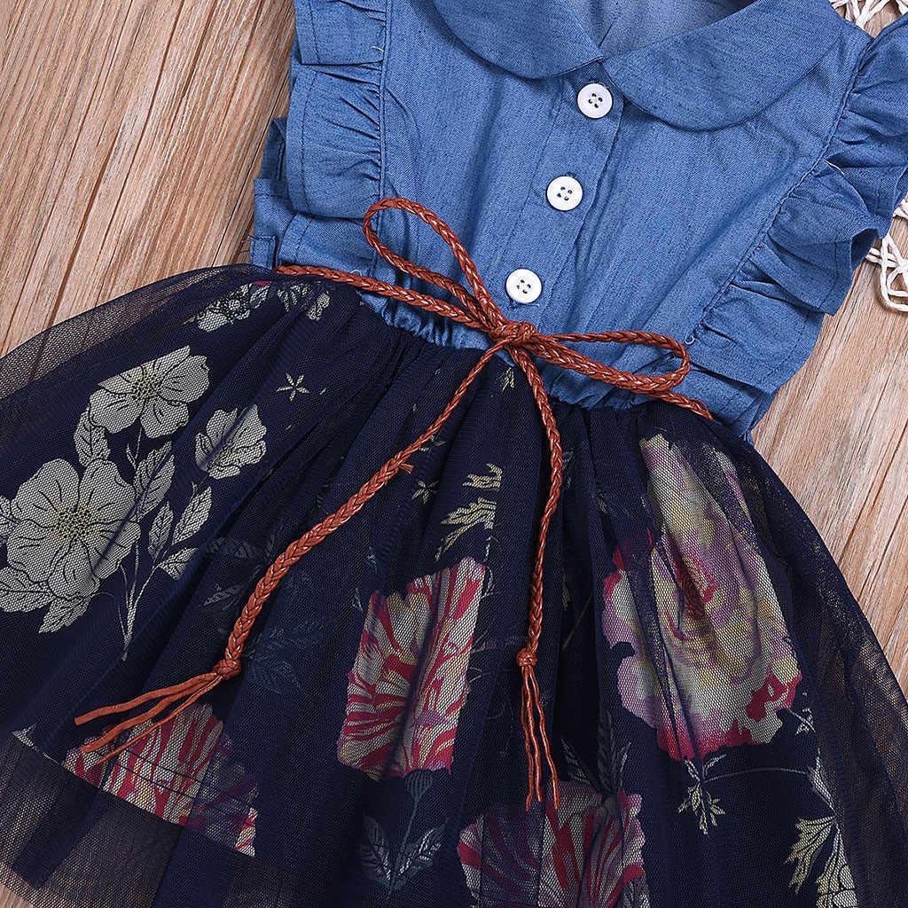 SAGACE elbiseler çocuk giysileri bebek giysileri kızlar için çiçek Denim frocks elbise kostümleri çocuk prenses elbise yaz 626