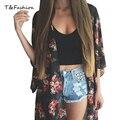 Летний Стиль женской Моды Старинные Цветок Печати Черного Шифона Блузка Рубашка Женщины Свободные Шифон Кимоно Кардиган
