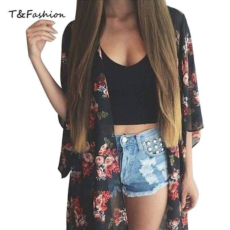 Summer Style Fashion font b Women s b font Vintage Flower Print Black Chiffon font b