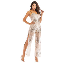 glitter silver white sexy sequin transparent jumpsuit one piece plus size body feminino woman clothes summer backless suspender