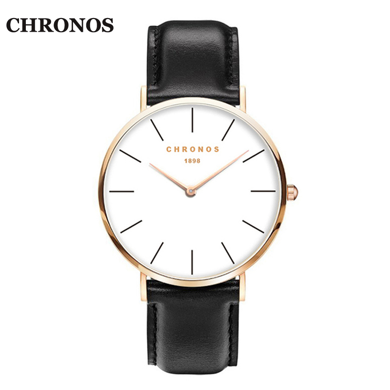 CHRONOS 1898 Unisex Uhren Casual Quarz Uhr Rose Gold Silber Uhren Frauen Männer Relogio Masculino Montre Femme