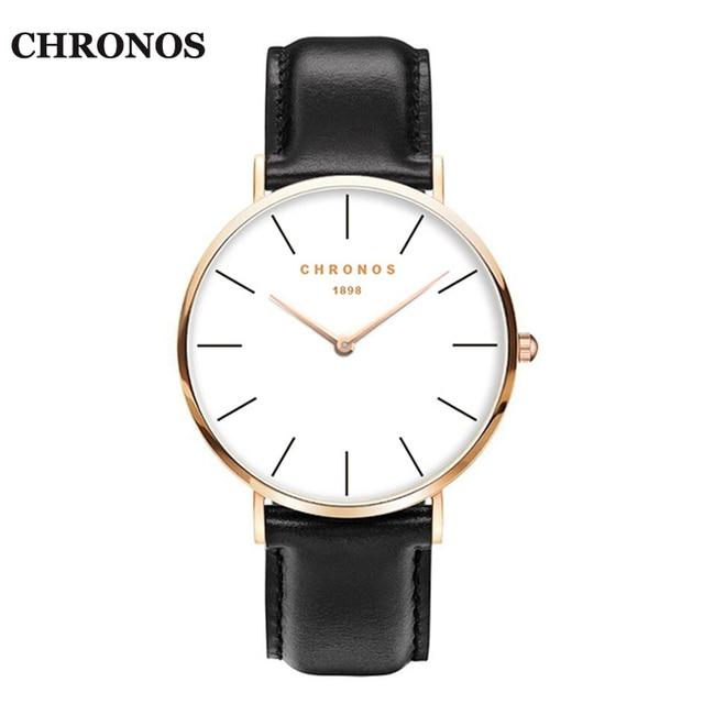 CHRONOS 1898 Unisex Watches Casual Quartz Watch Rose Gold Silver Watches Women M