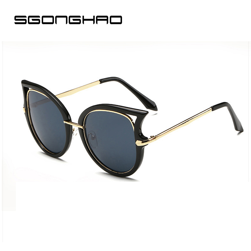 Oculos de sol 2016 Ladies Fashion Retro Vintage Cat Eye Sunglasses Mirror  Female luxury brand designer sun glasses for women c39a06cd70