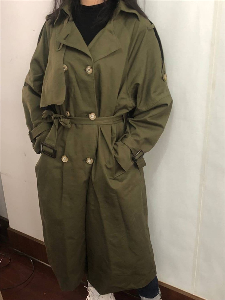 Russian autumn winter casual loose trench coat with sashes oversize Double Breasted Vintage overcoats windbreaker outwear 14
