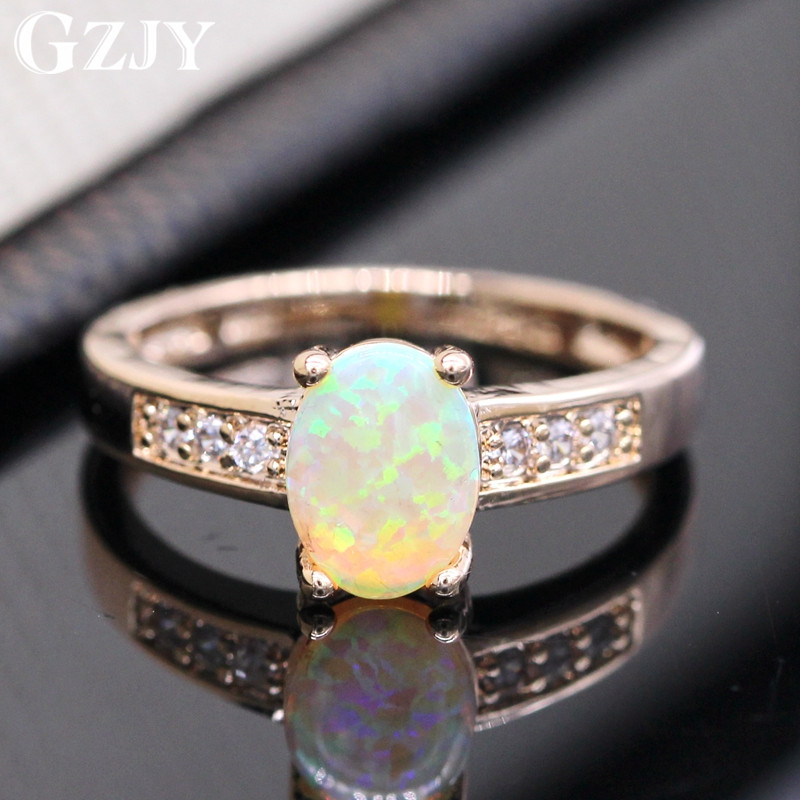 GZJY Best Gift Beautiful Romantic Yellow Fire Opal Gold Color Ring For Women Wedding Anniversary Jewelry