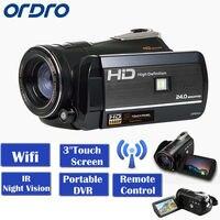 ORDRO HDV D395 WI FI Full HD 1080 P 18X3,0 Touch ЖК дисплей Экран Ночное видение цифрового видео Камера Регистраторы Портативный DVR