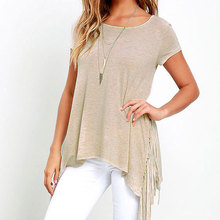 plus size T-shirt women 2017 Summer Tassel T-shirts Loose Light khaki, light gray fashion women t shirt cotton casual T-shirts