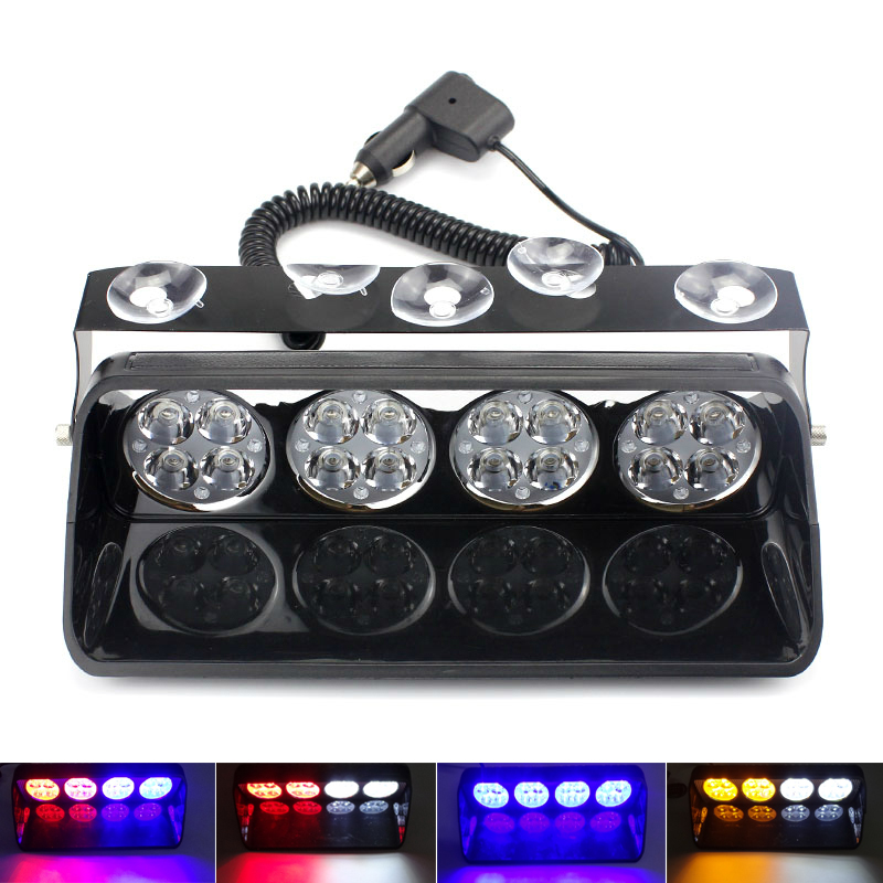 16LED 48W Windshield Led Strobe Light Car Flash Signal Police Emergency Fireman Warning Light Red Blue White Amber Spotlights strobe light flash emergency light windshield light s2 led emgergency strobe police flash light