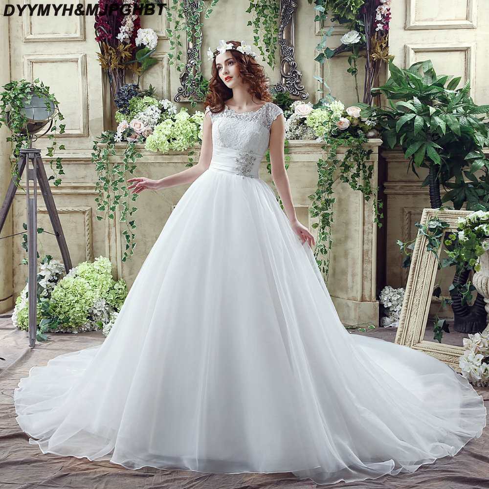 Tiered Organza Ball Gown Wedding Dresses 2018 Tank Lace