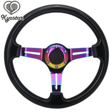 "Neo Chrome Rainbow Falou 350mm 14 ""Polegadas Preto ABS Direcção Racing Wheel Volante Do Carro Hot Wheels Carros"