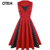 OTEN Estate vestito elegante Vintage Ball Gown Floral polka dot stampa 50 s rockabilly pin up Partito Vestiti di grandi dimensioni donne robe 5XL