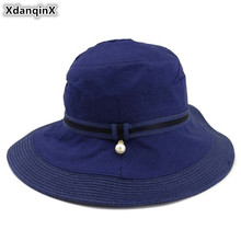 XdanqinX Foldable ladies straw hat Elegant fashion stitching Adult womens Bucket Hats NEW Summer breathable beach for women