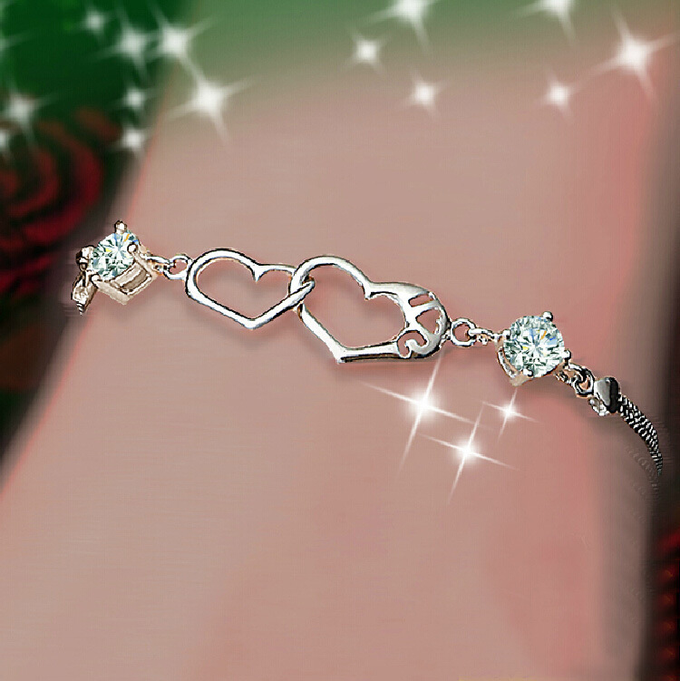 Jewelry toggle picture more detailed picture about valentines valentines day woman gifts i love u cubic zirconia crystal jewelry two heart connected 100 negle Image collections