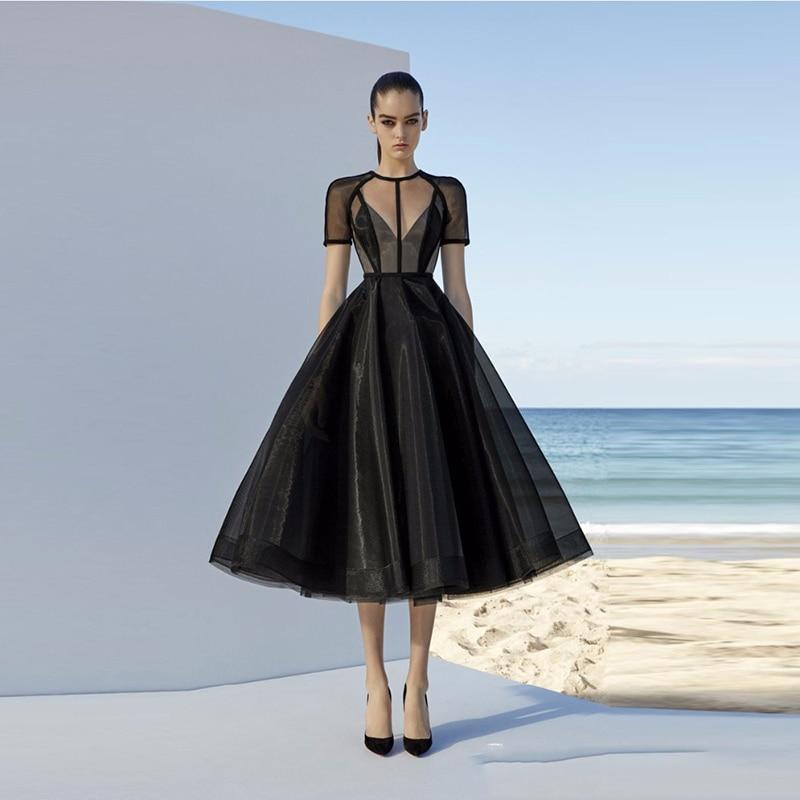 Robe de soirée noire Simple Vintage thé longueur robe formelle mode robe classique fête Suknie wieczor5%