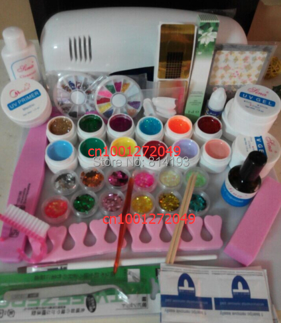 Free Shipping. DIY Full Set 12 color Nail UV Gel Kit 9W UV lamp kit Brush nail tips Soak Off Polish Manicure File Cleanser tool nail art salon supplies kit tool uv gel nail polish diy makeup full set manicure set free shipping