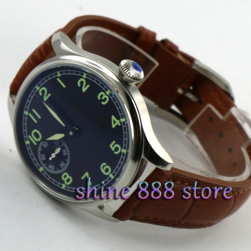 44ミリメートルparnis黒ダイアルブラウンストラップst 3600手巻き6497機械式メンズ腕時計  グループ上の 腕時計 からの 機械式時計 の中 2