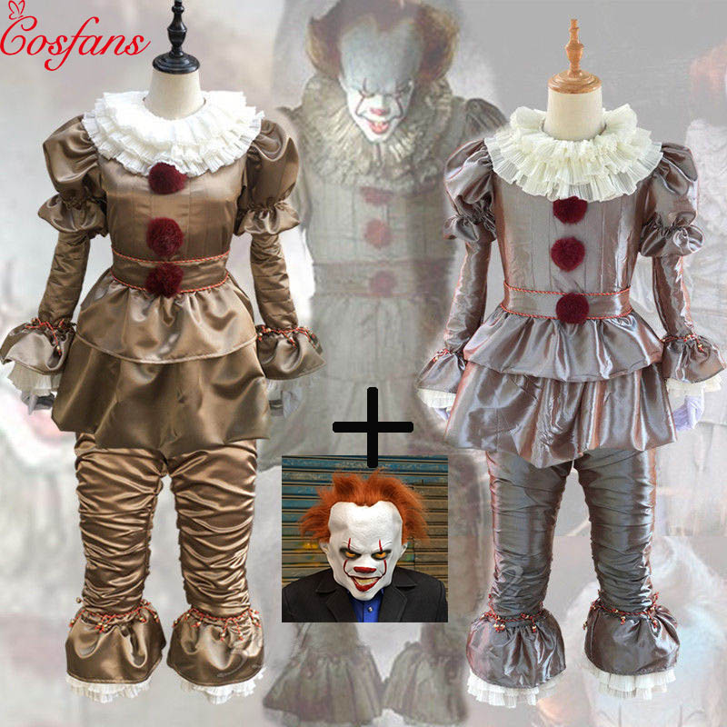 Clown Cosplay Stephen King's It Pennywise Cosplay Costume Adult Unisex Female Horror Clown Halloween Costume For Male Adult Mask