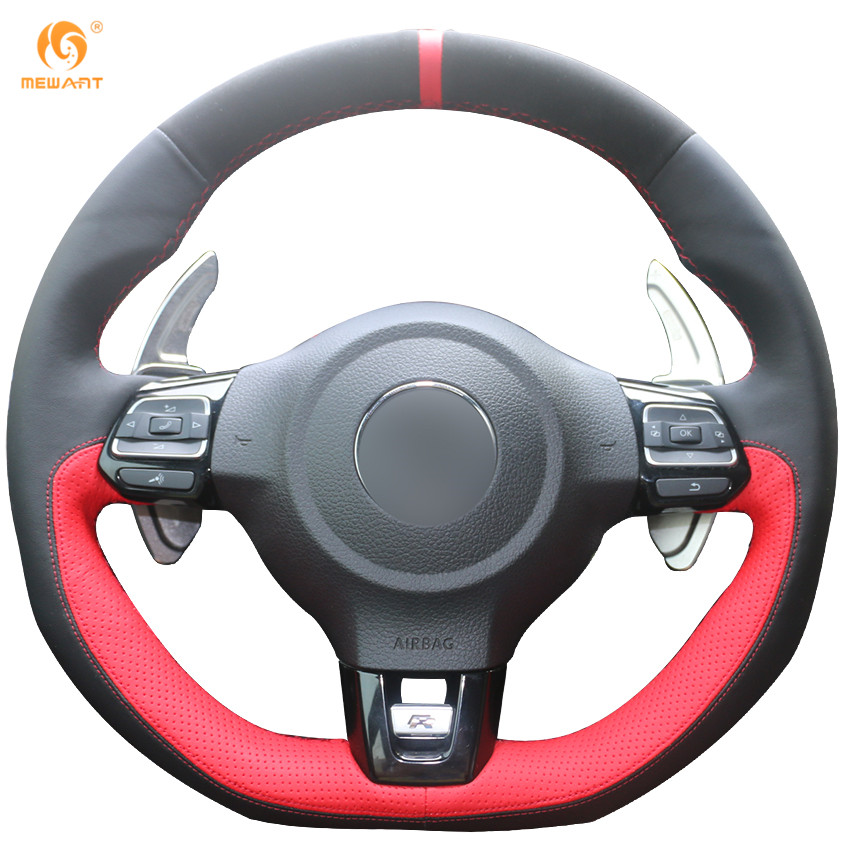 2010 Volkswagen Golf Interior: Black Suede Black Red Leather Steering Wheel Cover For