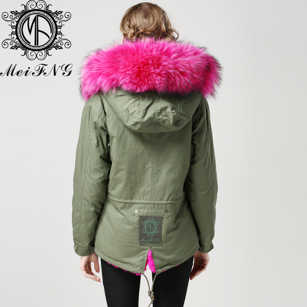 Army Green Jacket With Pink Fur Hood - Best Hood 2017