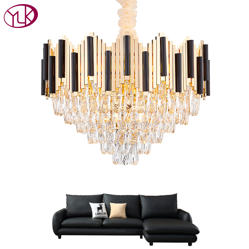 Luxury New Modern Chandelier Lighting For Living Room Round Dining Room Chain Crystal Chandeliers Gold Home Decoration LightsLuxury New Modern Chandelier Lighting For Living Room Round Dining Room Chain Crystal Chandeliers Gold Home Decoration Lights